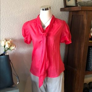 (7) Coral Pink French Connection Blouse